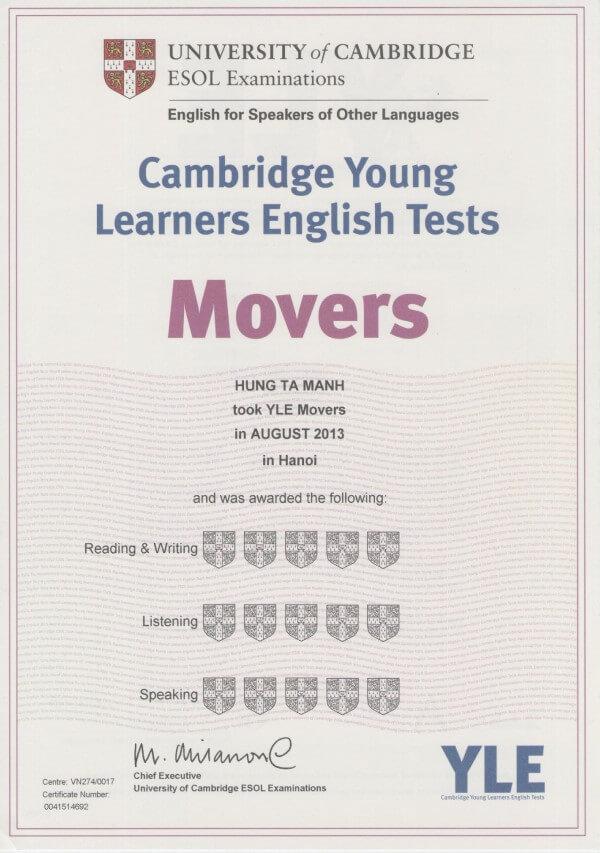 Đọc sách cambridge movers để thi lấy chứng chỉ anh văn quốc tế